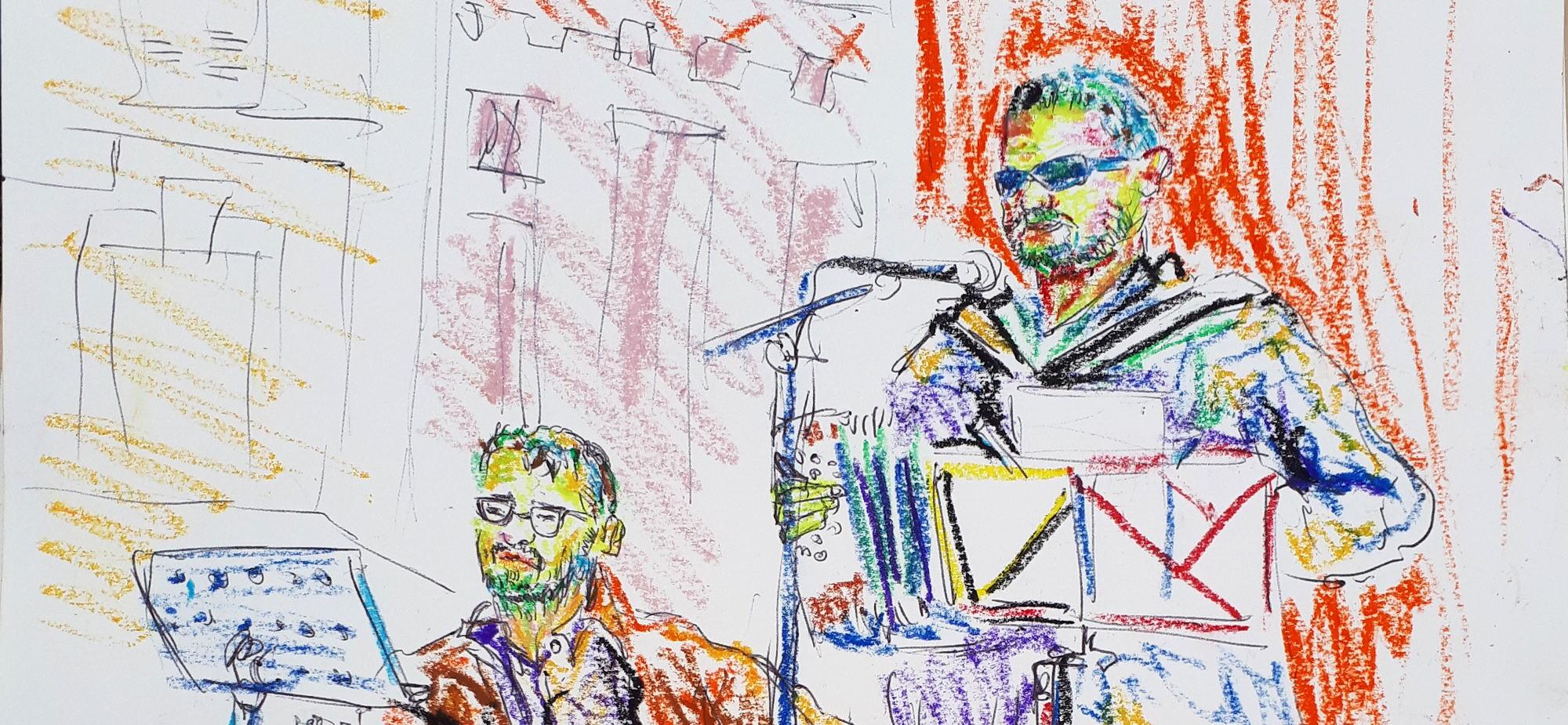 Croquis représentant Famo et Serge Eric sur scène